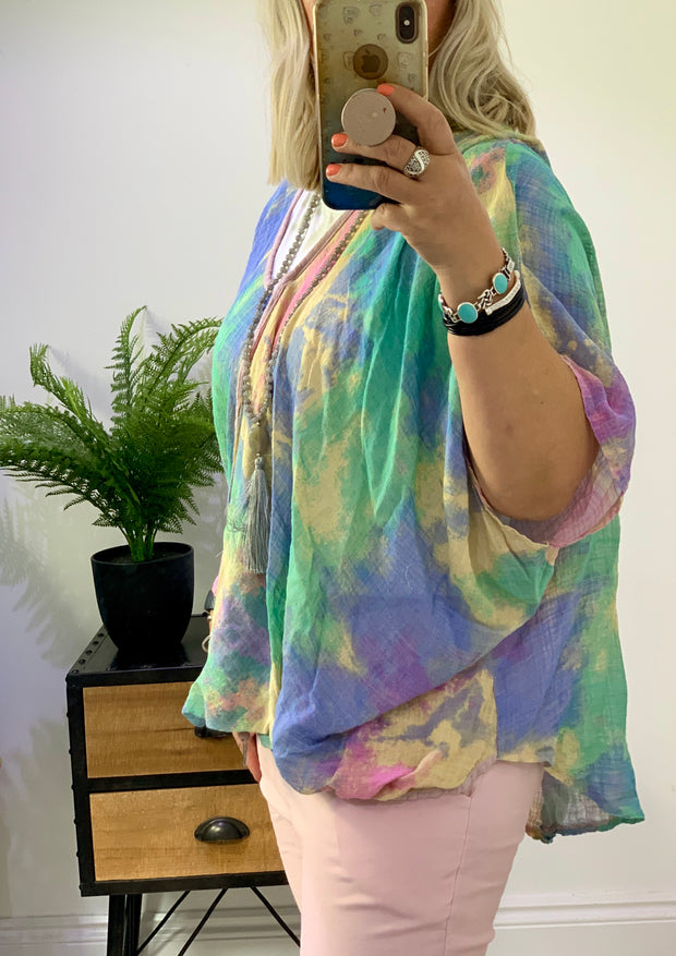 Cheesecloth Oversized One Button Cross Over 111 tie dye top  Charlotte CLICK FOR MORE COLOURS