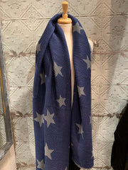 Long Star pleated Scarf Reversible Shawl Wrap Autumn Winter