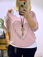 Heart Amore double vest top with a free necklace