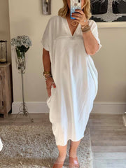 Mid Length V neck Short Sleeve Amanda Dress