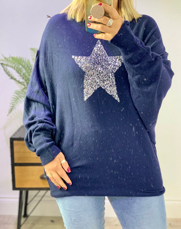Sequin Star Batwing Super Soft Jumper