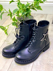 Star Lace And Zip Biker Boot