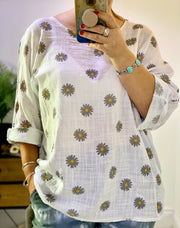 Box Linen Pattern Daisy Top  Blouse CLICK FOR MORE COLOURS