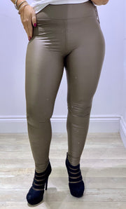 Super stretchy shiny PU Leggings in taupe