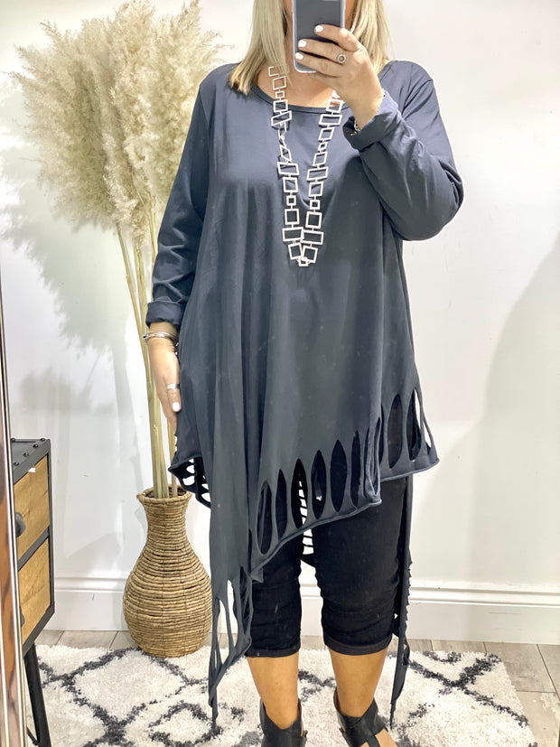 Chelsea Grater Oversized Holey Stretch Tunic