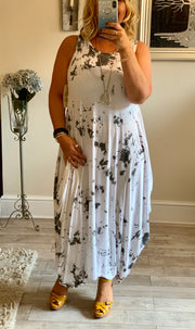 Lagenlook Quirky Boho long Parachute tie Dye Laura Maxi Dress Bleached Stripe effect CLICK HERE FOR MORE COLOURS