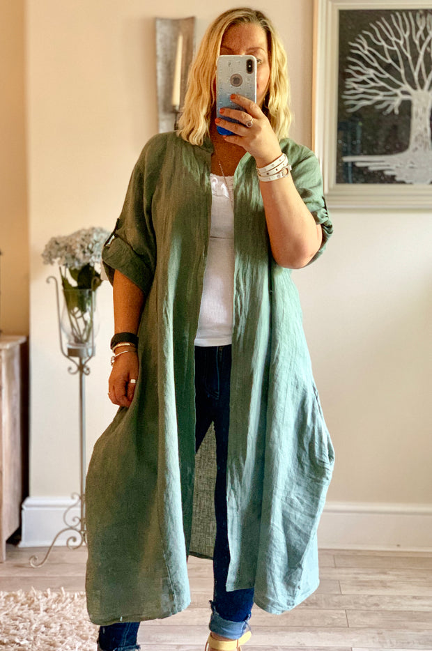 Linen Long Linda Jacket With Pockets By Made In Italy