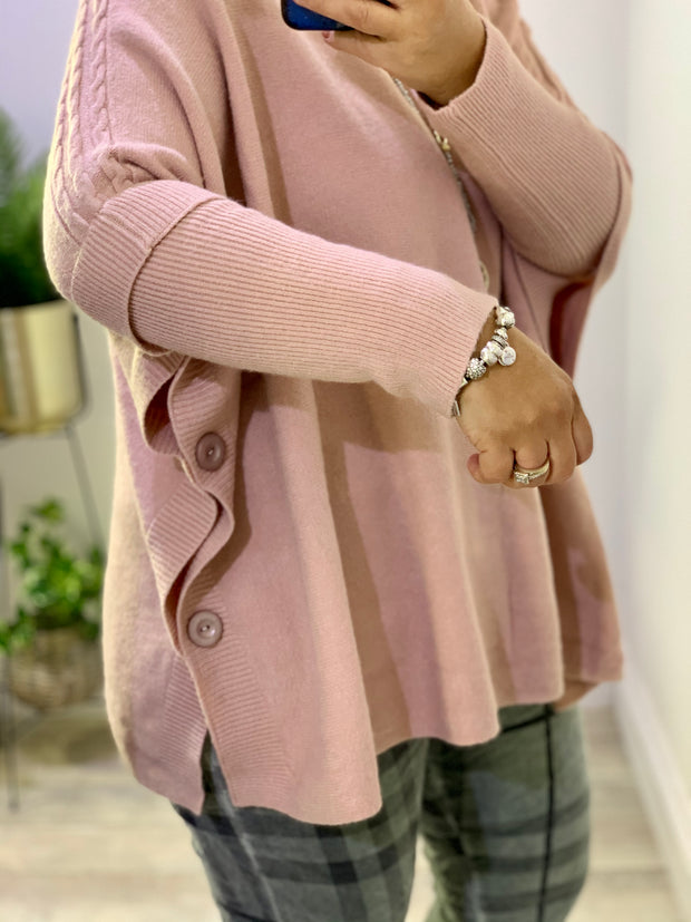 Super soft June Button Side Double Sleeve Jumper