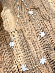 Big Metal Pretty Flower long Boho Necklace