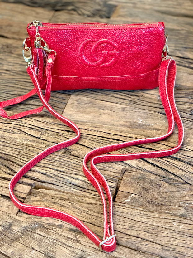 Gucci Inspired Cross Body Clutch Bag With Tassel In Real Leather