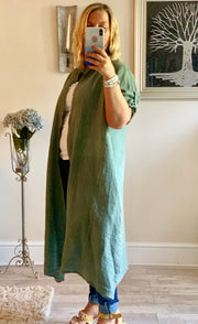 Linen Long Linda Jacket With Pockets By Made In Italy CLICK FOR MORE COLOURS
