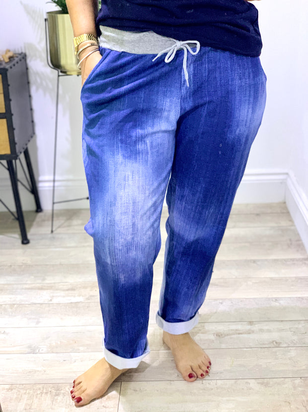 Plus Size Magic Tracksuit Jogger Denim  Cargo Pants