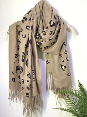 On Safari Leopard Print Cashmere oversized Scarf