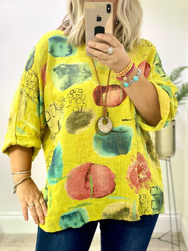 Box Linen Pattern Petunia Top Blouse With Free Necklace CLICK FOR MORE COLOURS