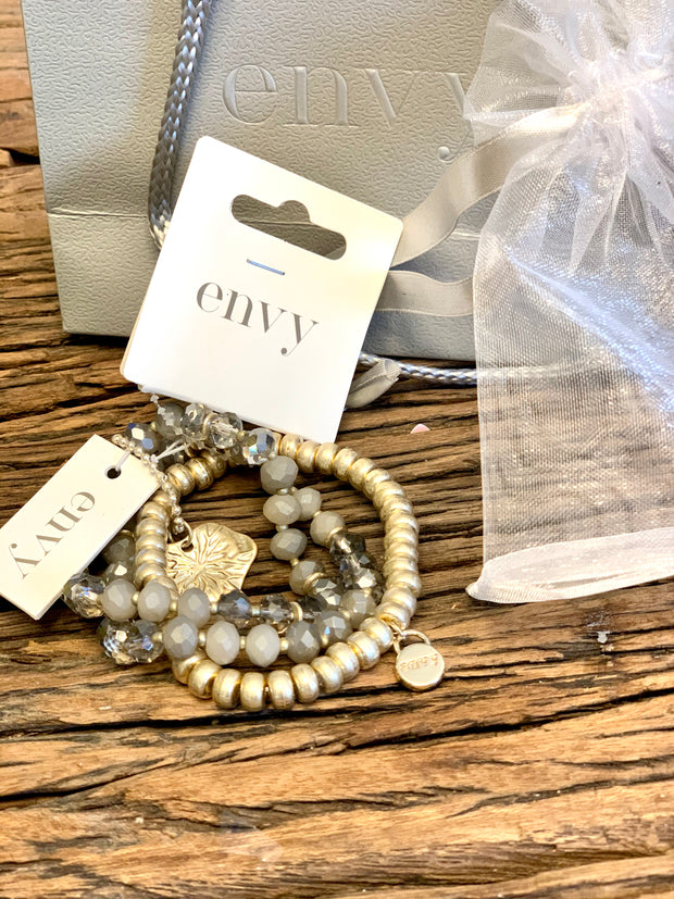 Chunky Triple Layered Grey Beaded Bracelet With Large Gold Leaf Charm