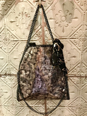 Stella Style Handbag Black With Silver Shimer and Free Scarf