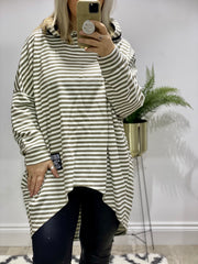 Chelsea Candy Stripe WHAT Tunic Hoodie Lounge Top