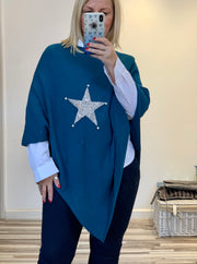 Super Soft Glitter and Pearl Silver Star Poncho wrap