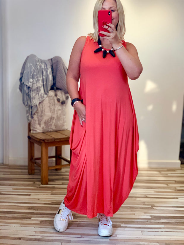 Lagenlook Quirky Boho Parachute Long Plain Maxi Dress