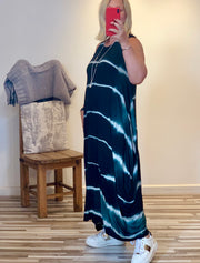 Lagenlook Quirky Boho long Parachute Maxi Dress Bleached Stripe effect