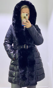 The Sidney Puffa Hoodie Coat Faux Fur Belted