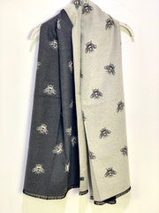 Long Luxurious Cashmere Bee Reversible Scarf