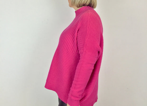 Italian High Neck Ribbed knitted Dipped Hem Jumper