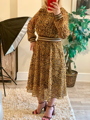 Animal Print Blouson Style Dress With large Waste Band