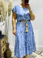 Denim Frill sleeve Layered Denim Dress With wooden Belt