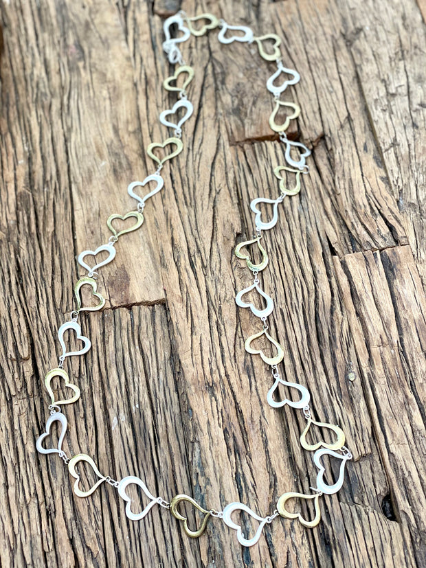 Big Metal Long heart silver and old gold necklace