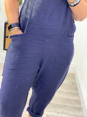 Dungarees in Linen Overalls with Pockets Skinny Cropped