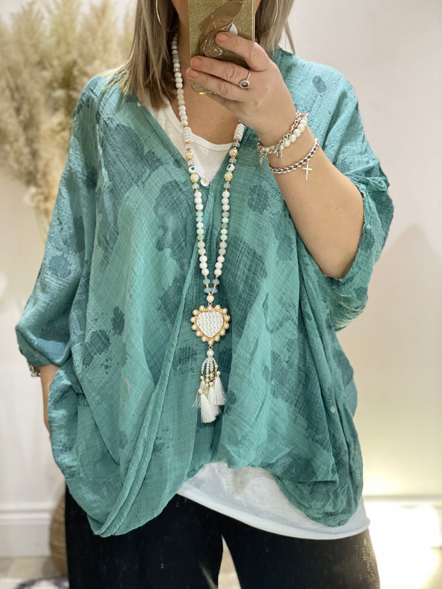 Eden Cheesecloth  Patch Oversized One Button Cross sized Charlotte  top CLICK FOR MORE COLOURS