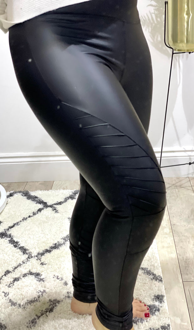 Biker PU Stretch Leggings With Stripes