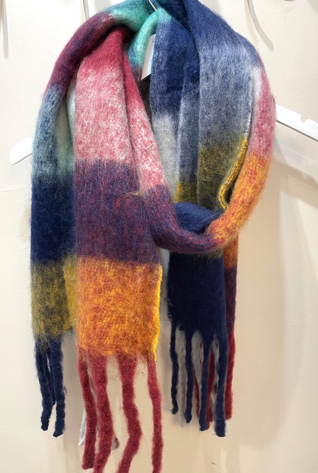 Long Warm cosy multi coloured Blanket scarf