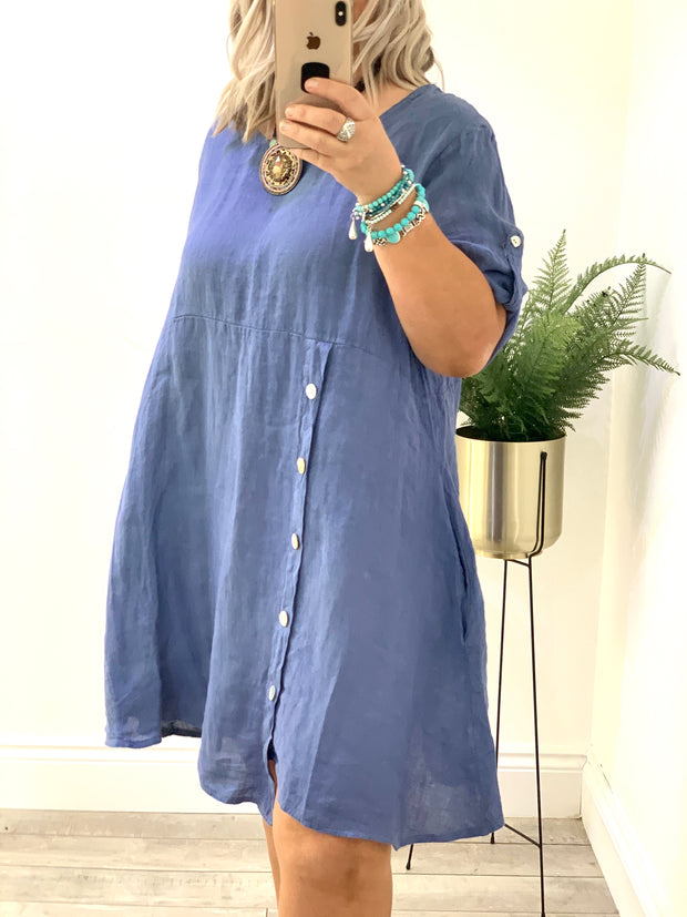 Linen Classic Smock Style Button Down Shona Dress CLICK FOR MORE COLOURS