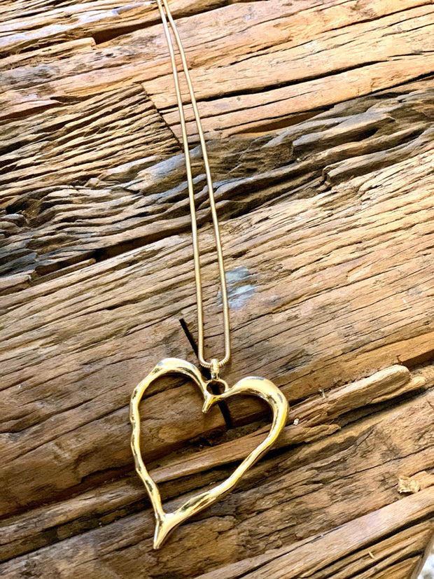 Large Statement Abstract Gold Heart Necklace