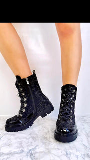 Lux Bling Zip and Lace Ankle Combat Boot in Black
