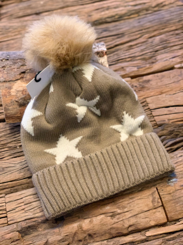 Star Pom Pom Fleece Lined Hat CLICK Here for more colours