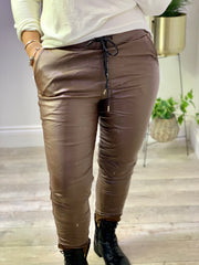 Wet Look Magic Joggers Tie Waist Trousers