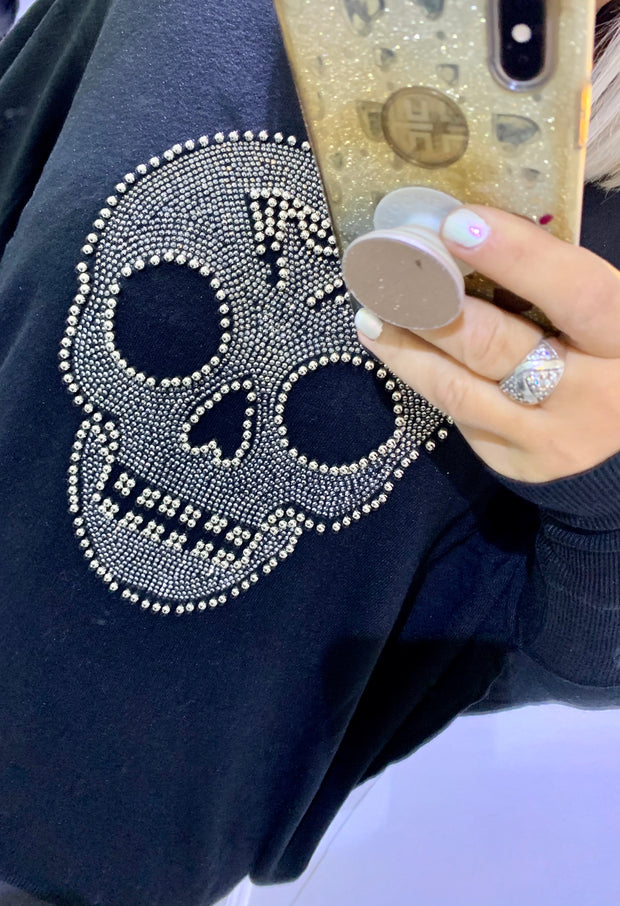 Fine Knit Jumper Batwing Style With Stud Detail Large Skull