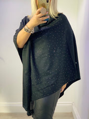 The Emma Glitter Bling Stud Poncho