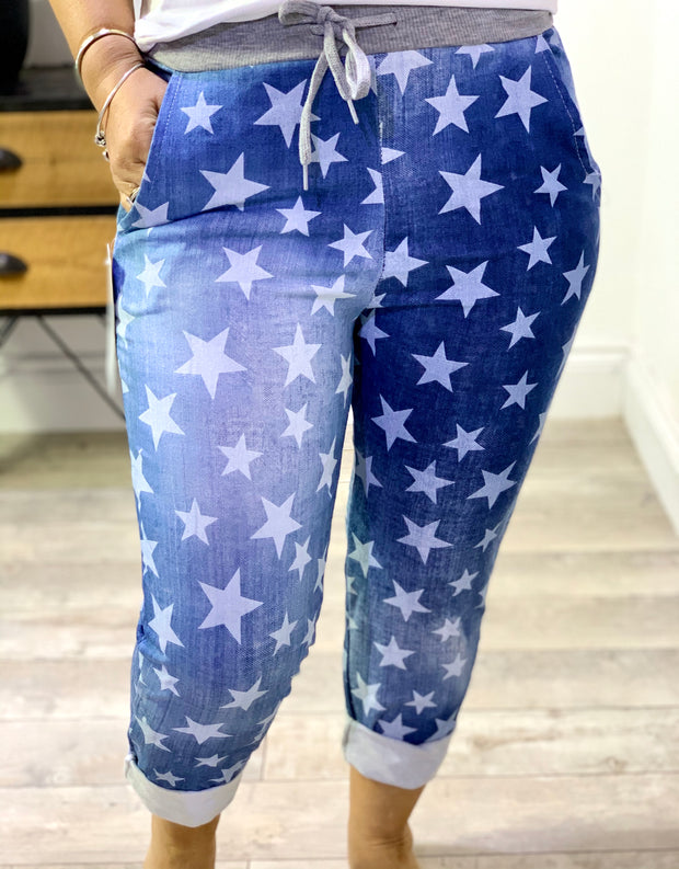 Plus Size Magic Tracksuit Jogger Denim Small Star Cargo Pants