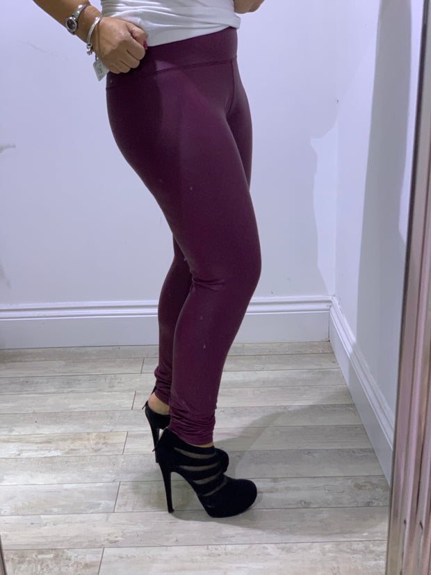 Super stretchy shiny PU Leggings in Ox blood Red