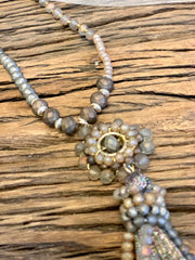Envy Long Beige and Gold Beads With A Beaded Pendant Tassel