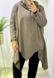 Gillian Casual Oversized Swing Zig Zag High Neck Hoodie Top
