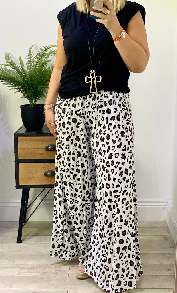 Long Palazzo Wide Leg Boho Casual Pants Animal print Trousers