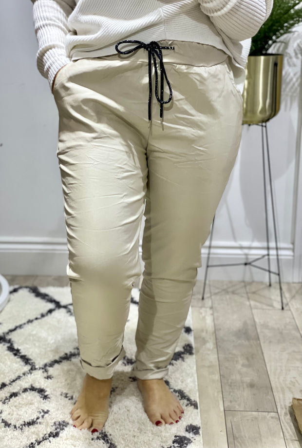 Plus Size Wet Look Magic Joggers Tie Waist Trousers