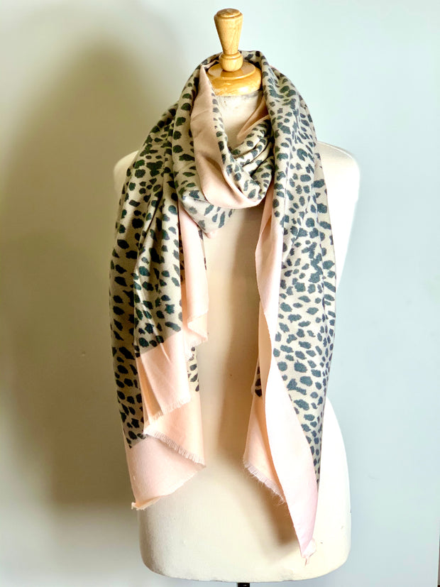 Long Mustard cashmere Scarf with Leopard Print