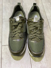 Sports Lux Worcester Wedge Silver Detail Trainers in Khaki
