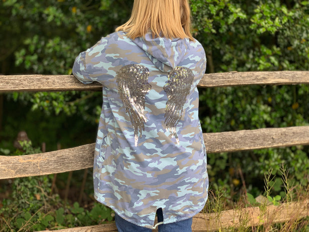 Angel wing Camouflaged Jacket With Hood And Pockets